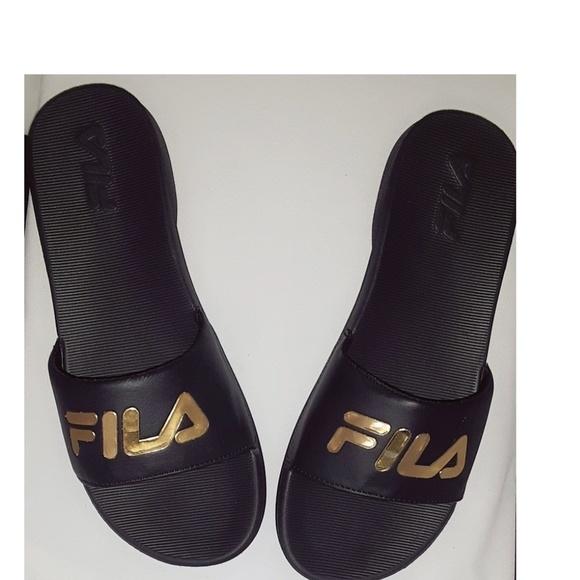 Nwob Fila Black And Gold Slides